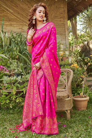 Buy Hot pink zari multi butta woven banarasi saree online -karagiri