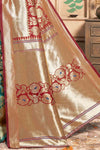 Red And Green Printed Chanderi Saree