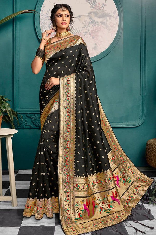 Jet black woven Paithani Saree - Buy online on Karagiri - Free shipping to USA