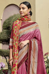 Garnet Pink Printed Chanderi Saree