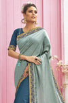 Powder Blue Zari Woven Chanderi Saree
