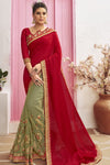 Chili Red Zari Woven Chanderi Saree
