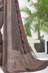 Behr Gray Printed Chanderi Saree