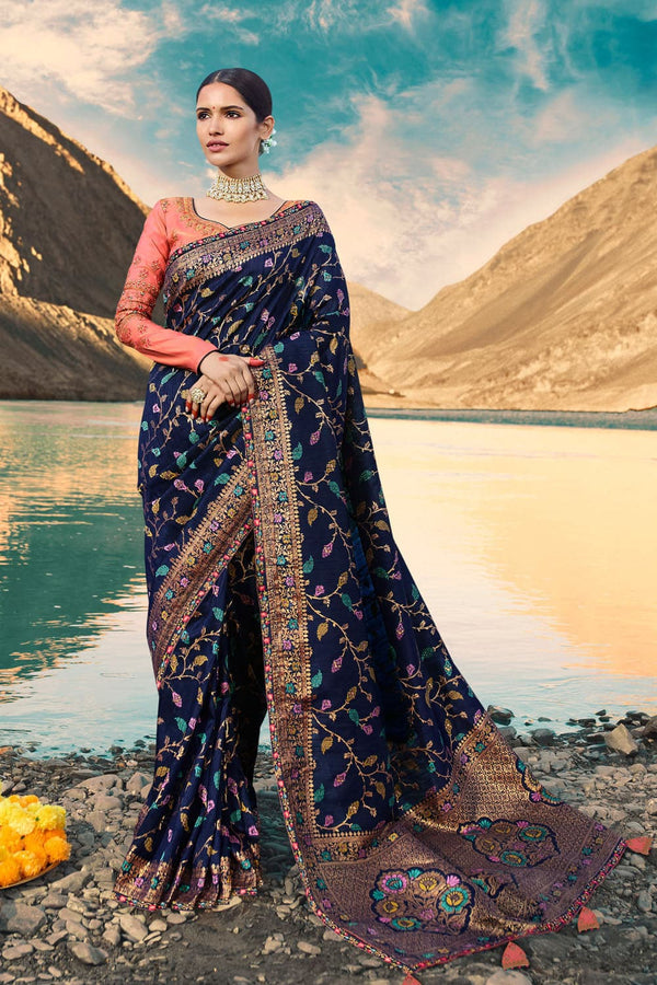 Navy blue designer saree with embroidered silk blouse - woven fusion of Banarasi & raw silk