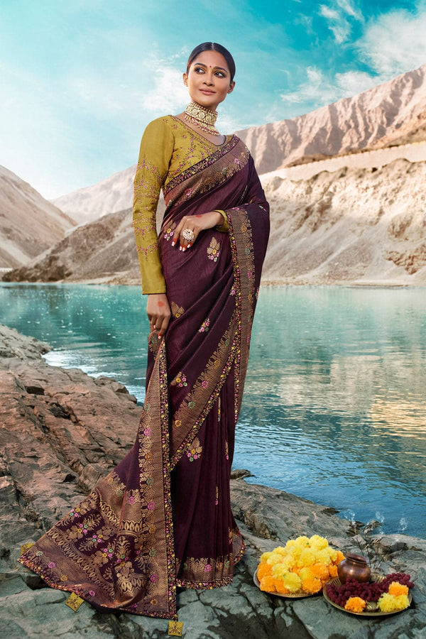 Wine designer saree with embroidered silk blouse - woven fusion of Banarasi & raw silk