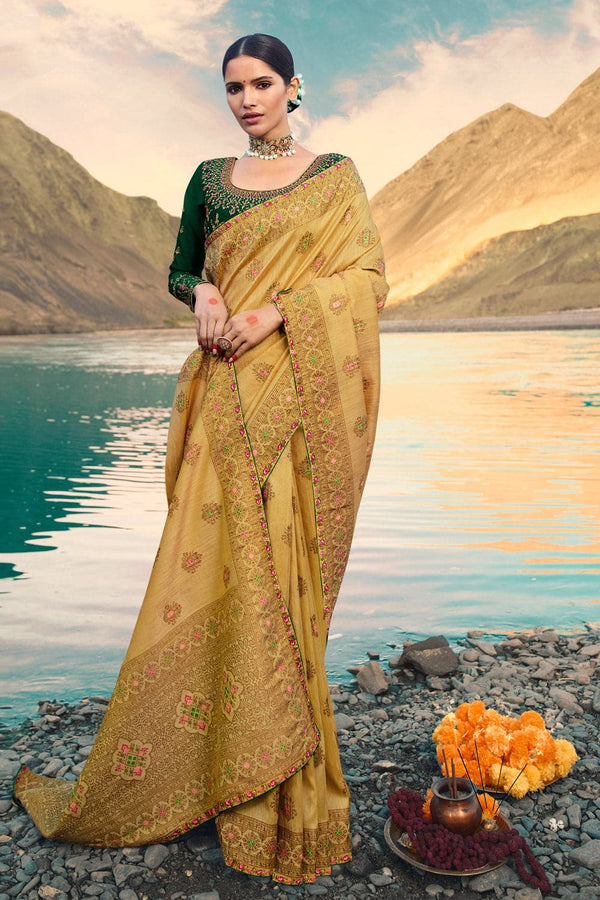 Golden beige designer saree with embroidered silk blouse - woven fusion of Banarasi & raw silk