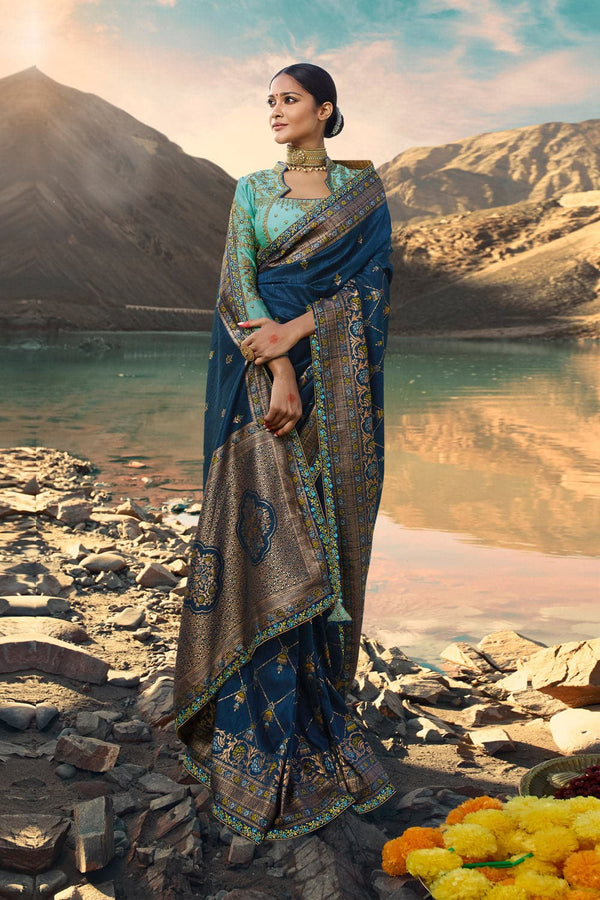 Deep blue designer saree with embroidered silk blouse - woven fusion of Banarasi & raw silk