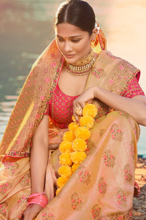 Beige pink designer saree with embroidered silk blouse - woven fusion of Banarasi & raw silk
