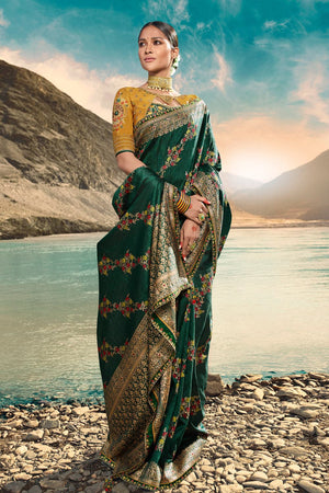 Bridal green designer saree with embroidered silk blouse - woven fusion of Banarasi & raw silk - Buy online on Karagiri - Free shipping to USA