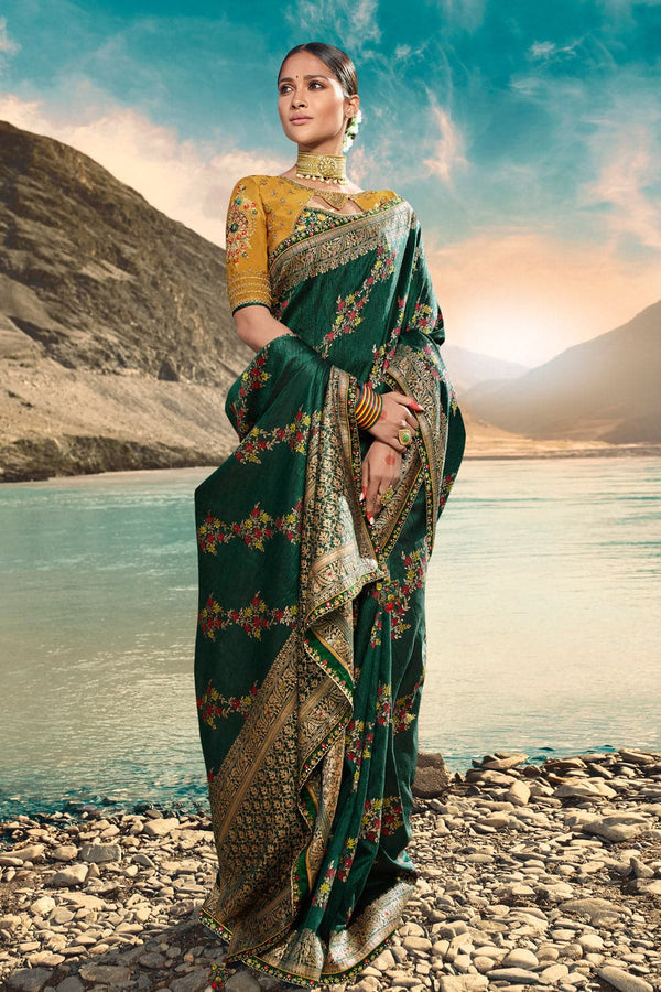 Bridal green designer saree with embroidered silk blouse - woven fusion of Banarasi & raw silk