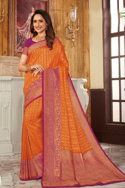 Sunrise orange handcrafted customised kanjivaram Saree - Buy online on Karagiri - Free shipping to USA