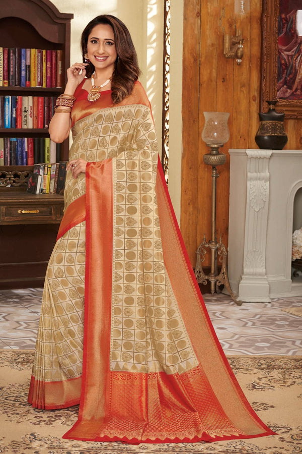 Beige red handcrafted customised Kanjivaram Silk Saree