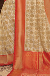 Beige red handcrafted customised kanjivaram Saree - Buy online on Karagiri - Free shipping to USA