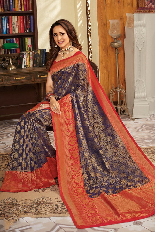 Sparkling blue handcrafted customised Kanjivaram Silk Saree