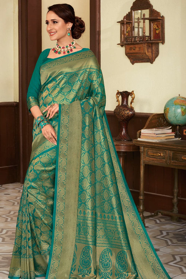 Parakeet green handcrafted customised Kanjivaram Silk Saree