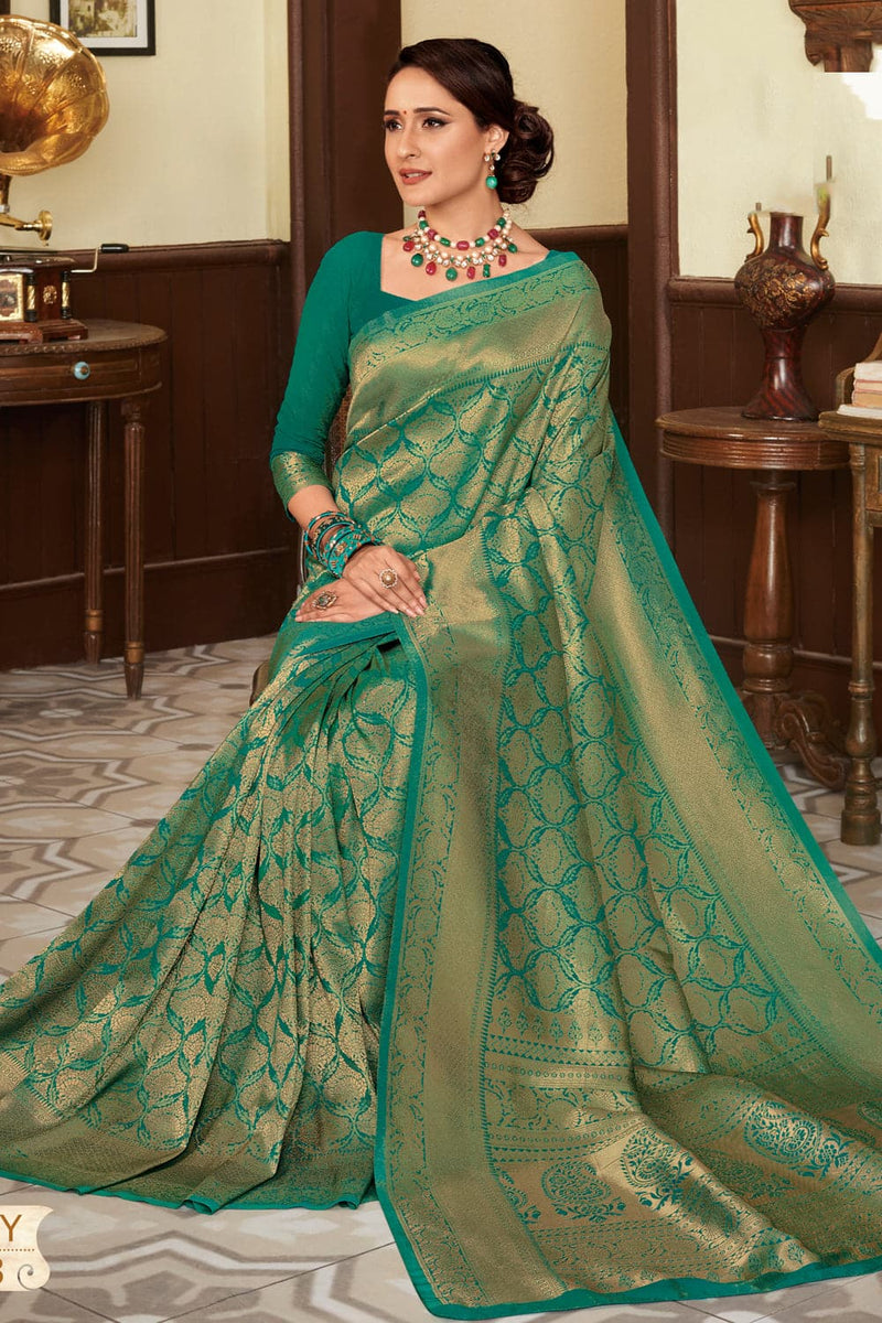 Parakeet green handcrafted customised kanjivaram Saree - Buy online on Karagiri - Free shipping to USA