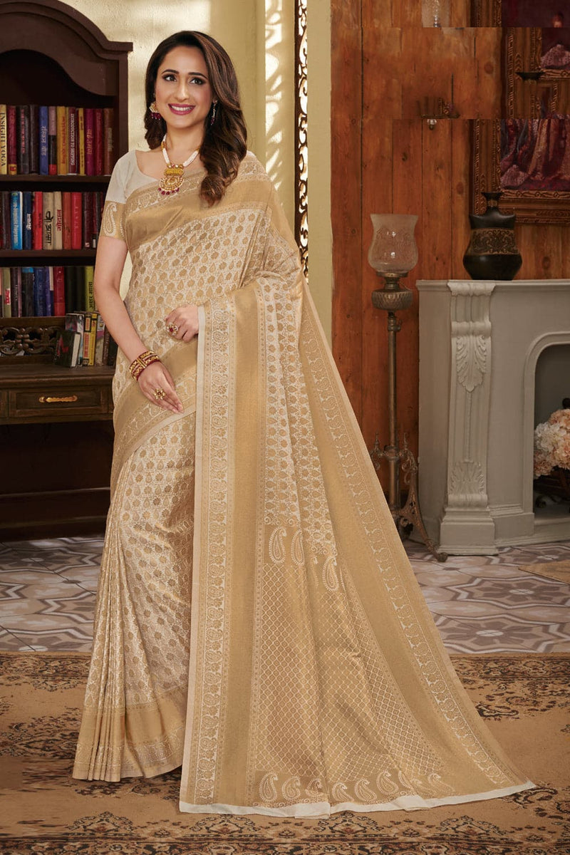 Beige handcrafted customised kanjivaram Saree - Buy online on Karagiri - Free shipping to USA