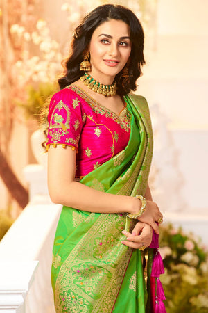 Luscious green woven designer banarasi saree with embroidered silk blouse - Wedding sutra collection - Buy online on Karagiri - Free shipping to USA