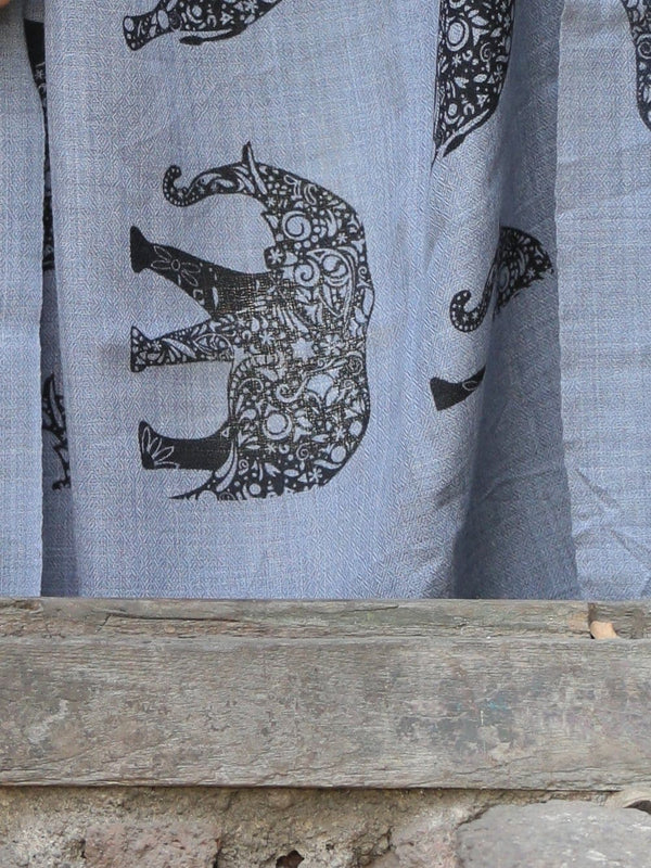 Blue elephant printed premium pashmina stole - Buy online on Karagiri - Free shipping to USA