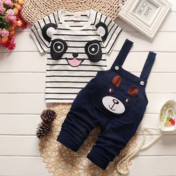 Panda Bear T-Shirt & Overalls Set