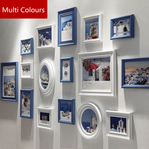 Multi Colours 16 pcs Wooden Photo Frame Set,