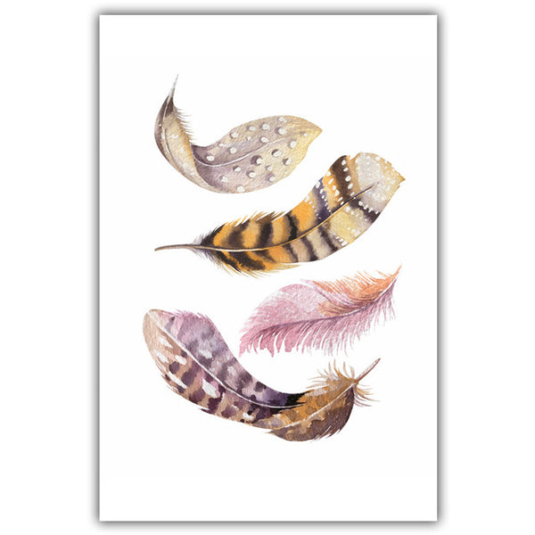 Modern Nordic Watercolor Painted Birds Feathers A4 Print