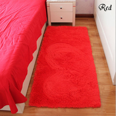 Red Rectangle Bath Mat Bedroom Floor Carpet
