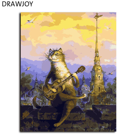 DRAWJOY Cartoon Cat Framed Wall Pictures