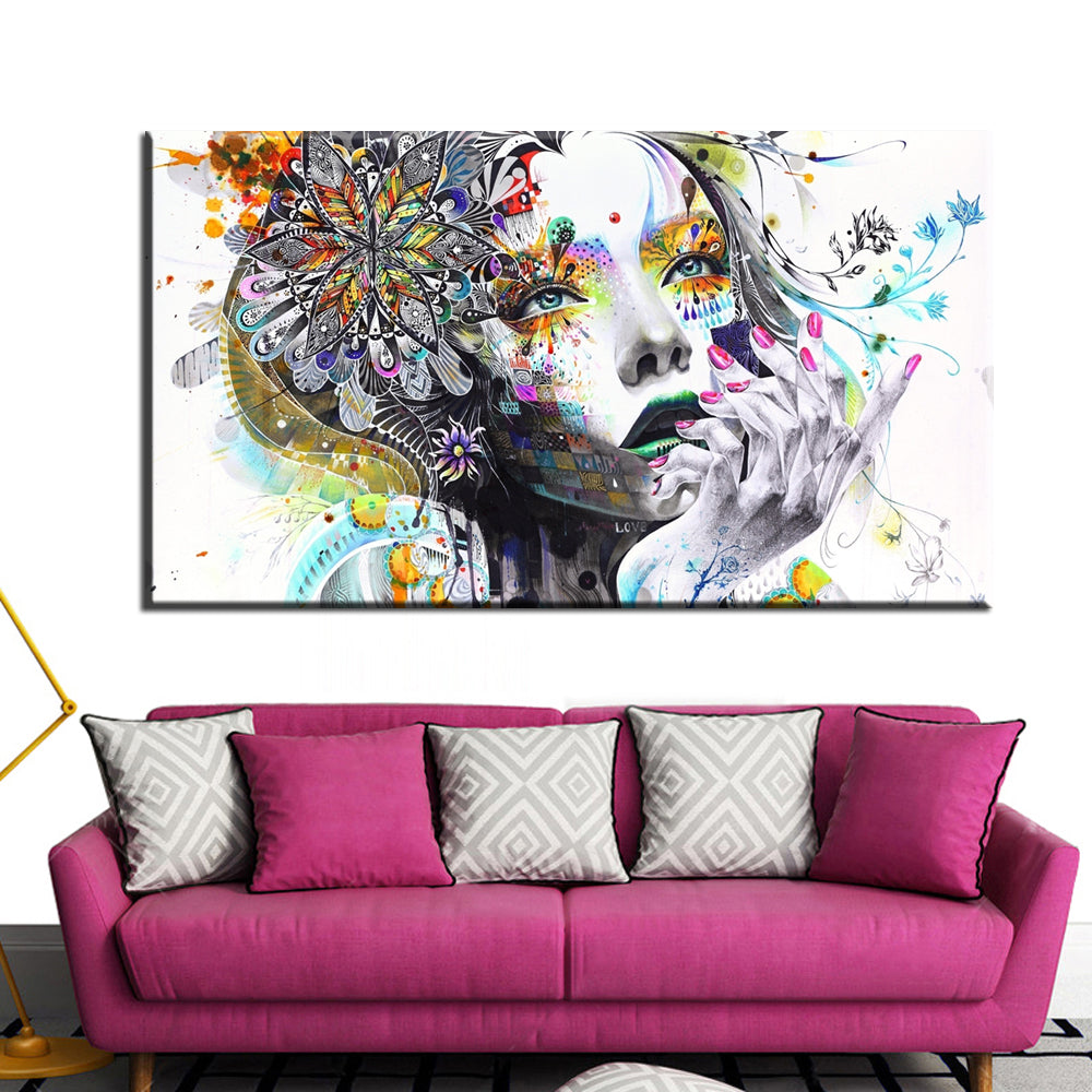 Modern wall art girl with flowers oil painting
