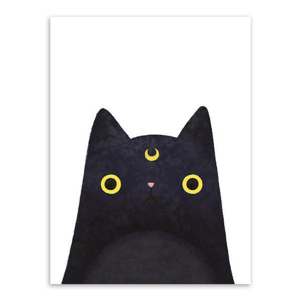 Modern Watercolor Kawaii Cat Face A4 Poster Print Japanese Wall Art Pictures Cute Girl Home Decor Canvas Painting No Frame Gifts