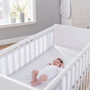 PurAir Breathable Cot Bumper - Grey & White Stripe