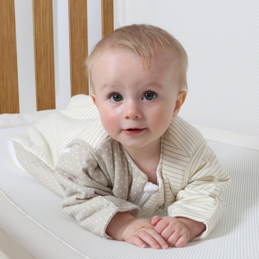 purflo Luxury Jersey Cotton SleepSac with Sleeves On Soft Truffle Spot