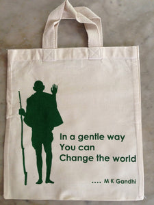"Cotton Bag: 12"" x 13"" : Gandhi : Gentle way"