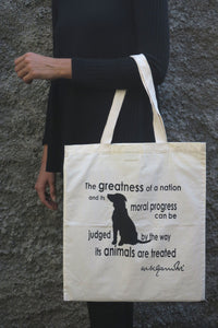 "Cotton Bag: 15 x 17"": Gandhi Animal"