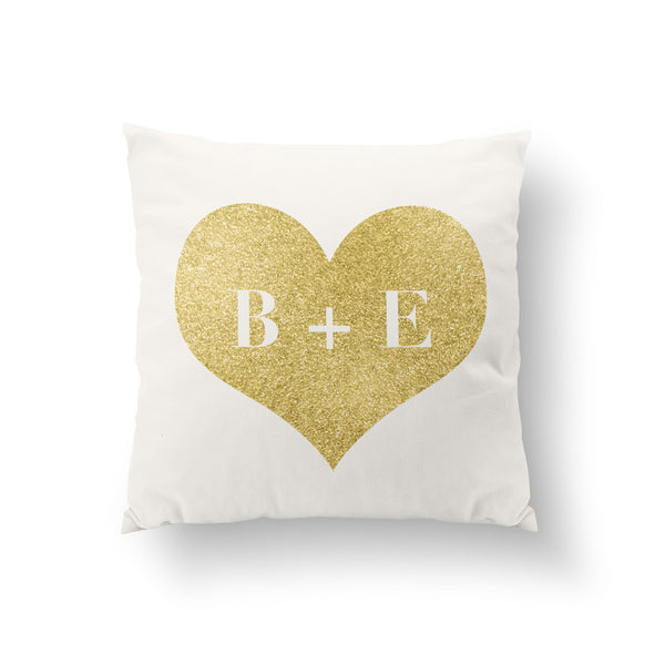 Personalized Glitter Couple Initials Throw Pillow