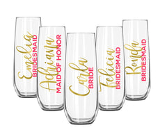Personalized Wedding Party Champagne Flutes