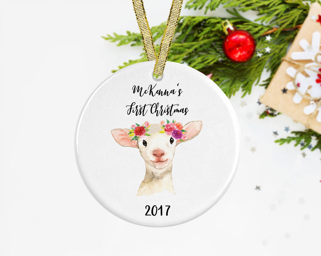 personalized babys first christmas ornament personalized baby girl ornament lamb christmas ornament babys 1st christmas o 015