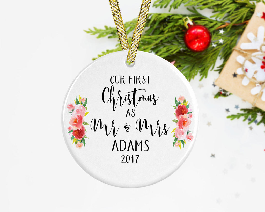 First Christmas Married Ornament, Personalized Newlywed Christmas ...