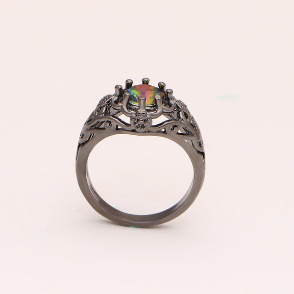 Rainbow Black Gold Plated Ring - TIAMERO STORY