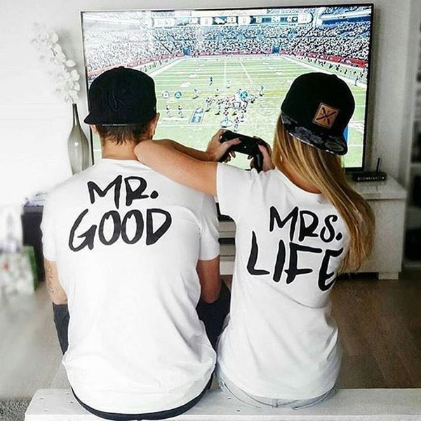 Mr. Good & Mrs. Life Letter Printed Tees - TIAMERO STORY