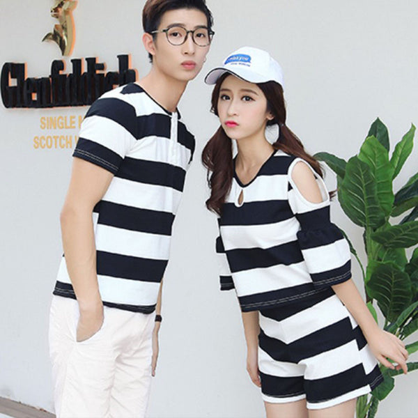 Black / White Striped Couples T-shirt - TIAMERO STORY