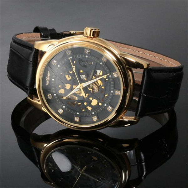 Glowing Skeleton Mechanical Leather Watch
