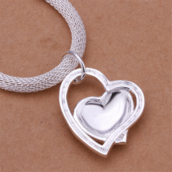 Silver Plated Double Heart Necklace - TIAMERO STORY