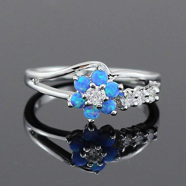 50% OFF! Get This Blue Flower Opal Ring For Half OFF! Limited Time Only
