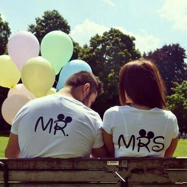 MR & MRS Letter Printed T Shirt - TIAMERO STORY