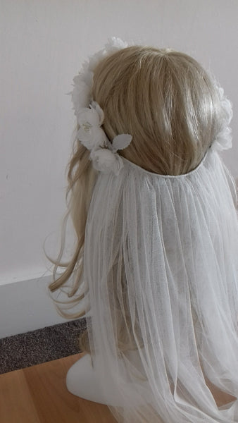 Bespoke pure silk flower crown and soft veil from Blossom and Bluebird