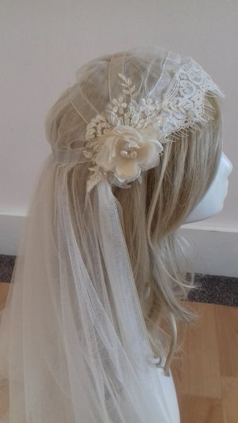 Bespoke Juliet cap veil by Blossom and Bluebird