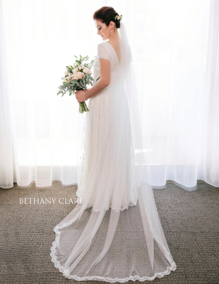 Real Bride Madeline in the Darcey veil by Blossom and Bluebird