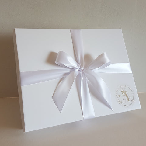 Blossom and Bluebird wedding veil in white gift box with gold foil logo