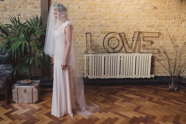 Blush Pink Spanish Tulle veils at Blossom and Bluebird